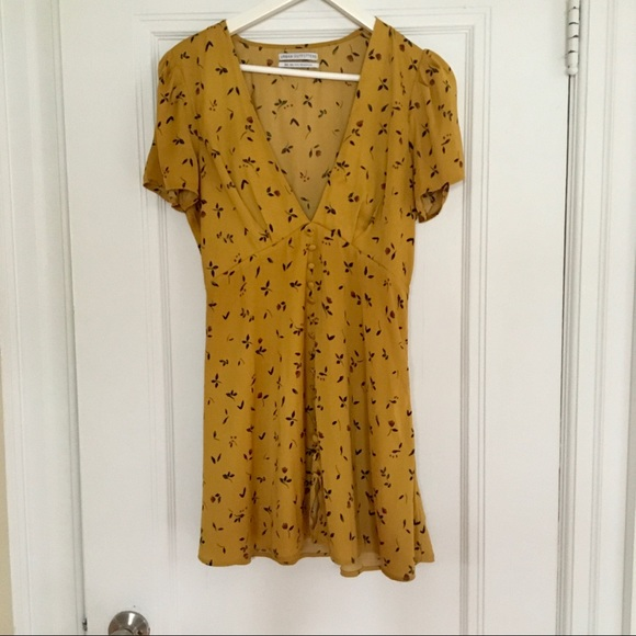 mustard floral dress from urban outfitters